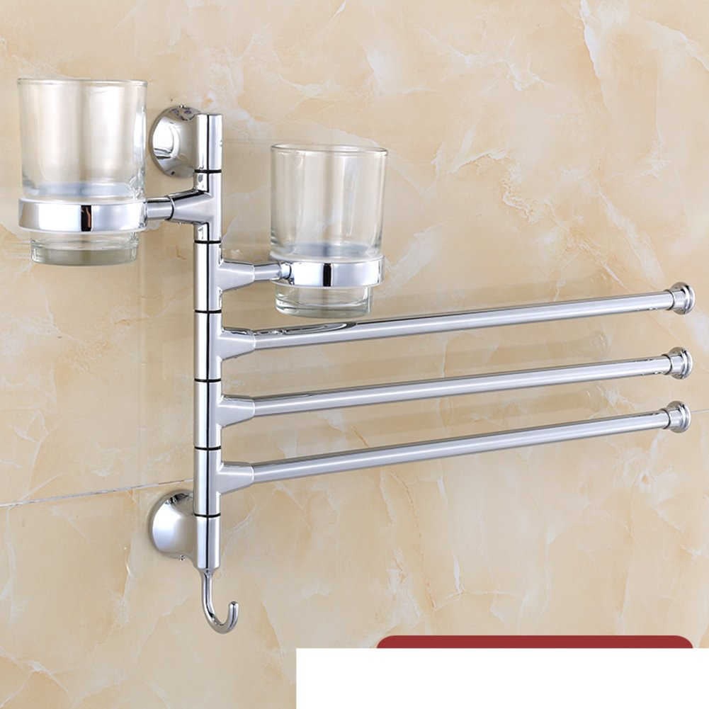 Punch continental rotation-free towel rack/ Gold Events towel bar rack/ Bathroom Activities cup holders/gargle cup shelf-C durable modeling