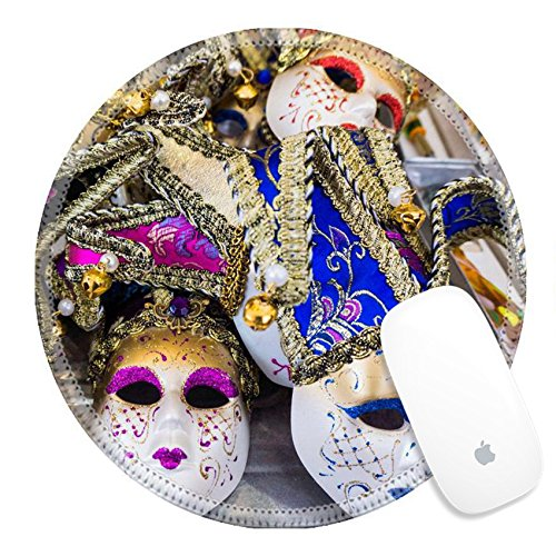 Cultural Costumes Of Italy (Luxlady Round Gaming Mousepad 35896176 Venetian masks Masks in Venice Italy)