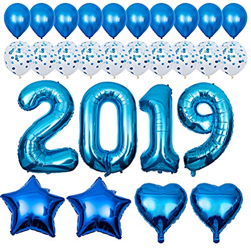 2019 Balloons kit Blue, New Year Celebration Decorations - 40 Inch Foil Balloons, Confetti Balloons for Wedding Bridal Shower and Children Graduation Party Decorations Supplies