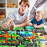 M SANMERSEN 44Pcs Dinosaur Play Set Jurassic World Educational Toys Set of 12 Realistic Dinosaurs + 10 Trees + 18 Road Sign + 3 Kinds of Cars and Play Mat, Newest Dinosaur Toys for 3-8 Years
