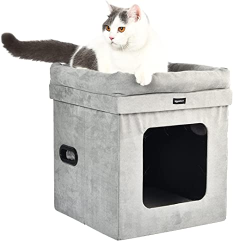 Amazon Basics Collapsible Cube Cat Bed 15 X 15 X 17 Inches Grey Pet Supplies