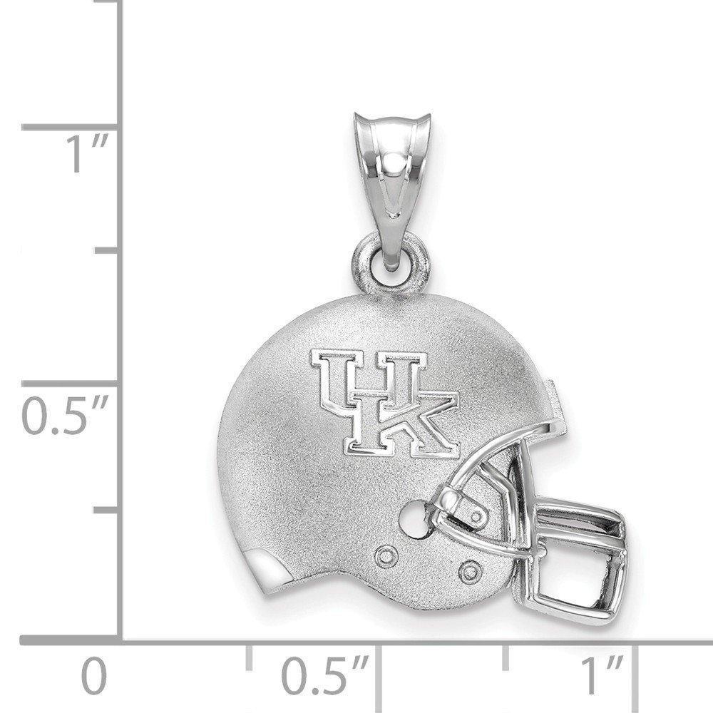 19.4mm x 15.5mm Jewel Tie 925 Sterling Silver The U of Kentucky 3D Football helmet with Logo Pendant