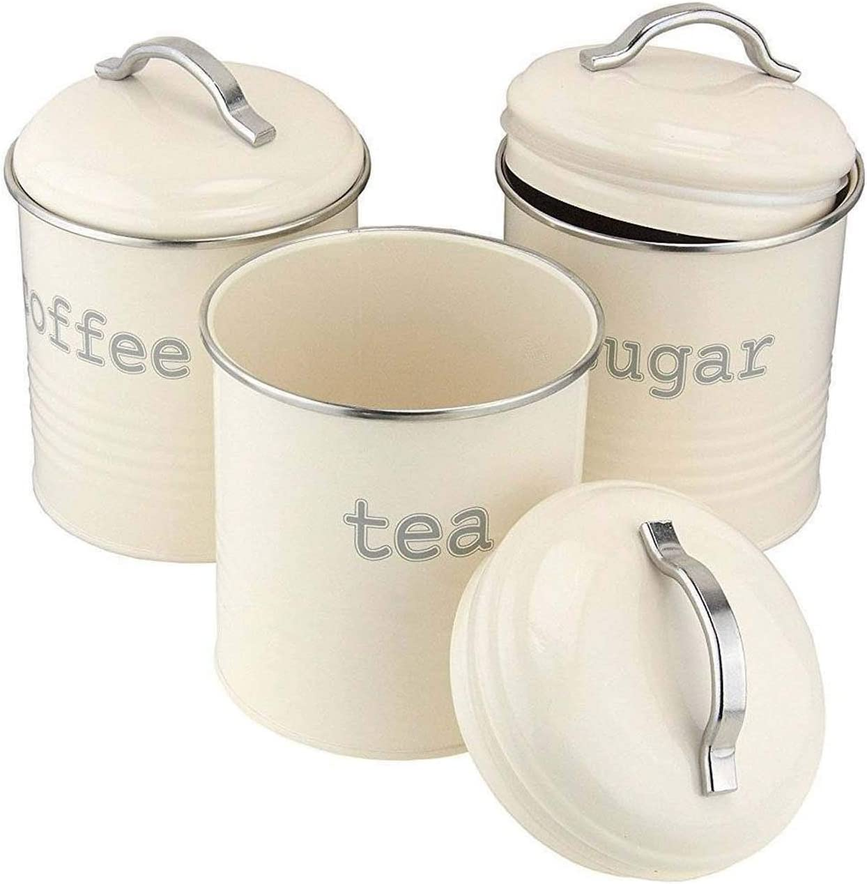 Retro Vintage Cream Enamel Round Set of 3 Tea Coffee Sugar Storage Canister Tin