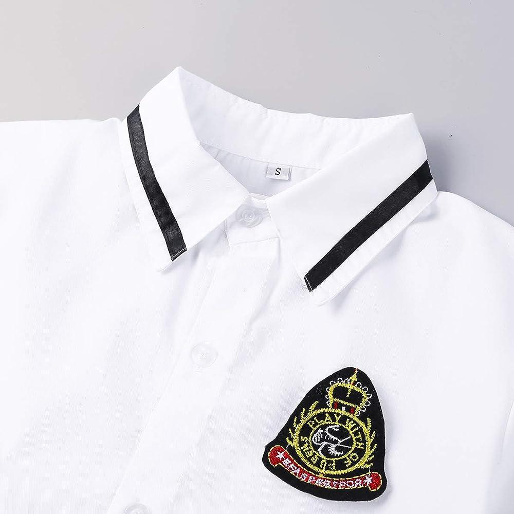 inhzoy Uniforme de Colegiala para Mujer Chica Disfraz de Escolar Japones High School Cosplay Traje de Marinero Camisa Blanca Falda Plisada Disfraces Adultos Blanco Y Negro Small: Amazon.es: Ropa y accesorios