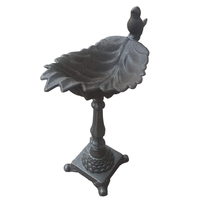 Orgrimmar Vintage Cast Iron Bird Feeder Maple Leaf Shape Bird Bath Decorative Wrought Crafts Bird Feeder for Garden/Villa/Home(5.12x5.31 inches,Sliver)