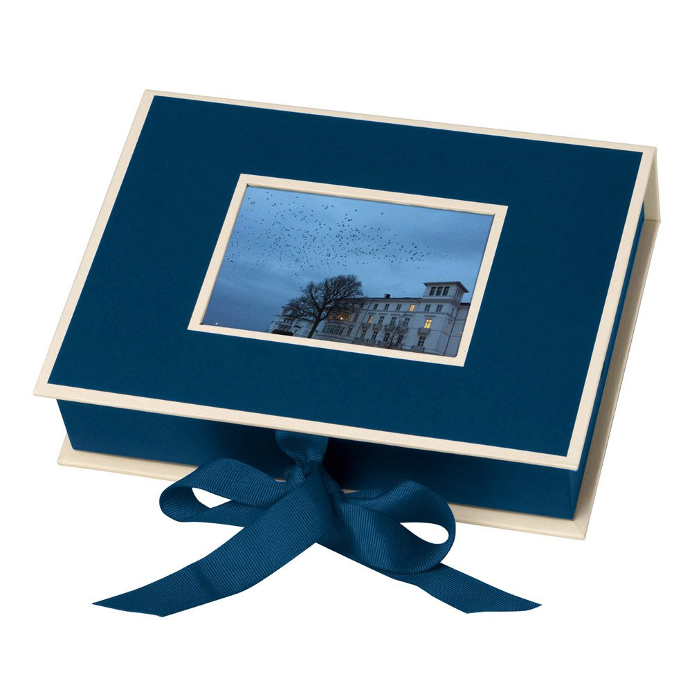 Semikolon Small Photo Box, Ribbon Tie Closure, Marine Blue (31503)