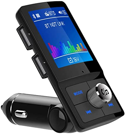 "VicTsing Car Bluetooth FM Transmitter 1.8"" Color Screen Wireless 3 USB Port TF"