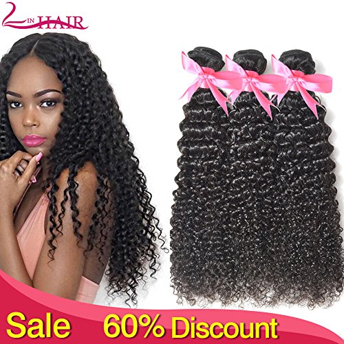 Lin Hair Brazilian Kinky Curly Virgin Deep Curly Human Hair Weave Extensions Natural Color Can Be Dayed