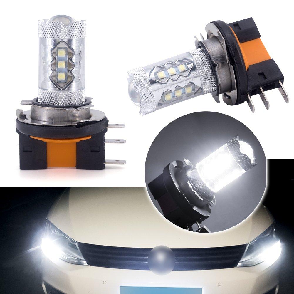 H15 Lampadina LED DRL Fendinebbia, Fascio abbagliante 12V 80W 16 Chip CREE Super Bright per luci diurne 6000K (Confezione da 2) jose201606
