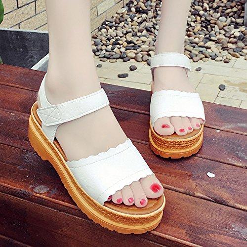 RUGAI-UE Suela gruesa Puntilla sandalias Verano Magic Stick zapatos cómodos slip White