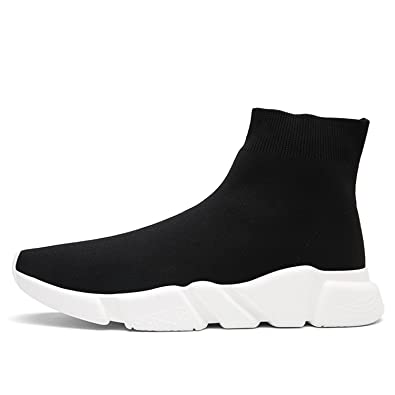 afc7ce49b QiTeng Unisex Slip-on Athletic Black Socks Shoes Lightweight Fashion  Sneakers Breathable Outdoor Casual Sports