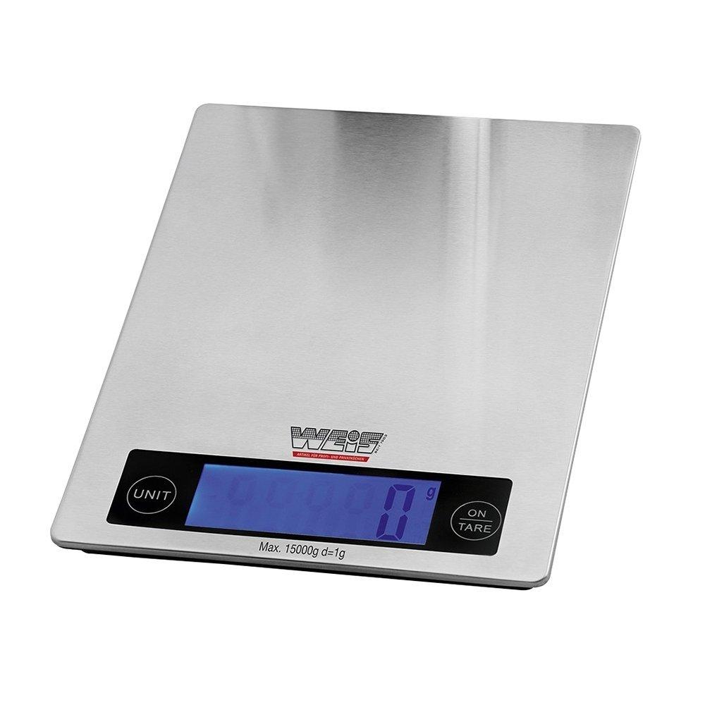 Weis 10570 Báscula de Cocina 15 kg de Acero Inoxidable, Acero Inoxidable, Plata, 24 x 18 x 3 cm,: Amazon.es: Hogar
