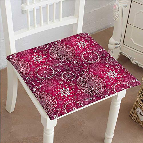 Mikihome Premium Comfort Seat Cushion Bohemian Stylized Vintage Flower and Anatolian Turkish Featured Pattern White Magenta Cushion for Office Chair Car Seat Cushion 14