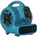 XPOWER P-230AT 1/5 HP 800 CFM 3 Speeds Mini Air Mover with 3-Hour Timer and Built-In Dual Outlets for Daisy Chain, 2.3-Amp