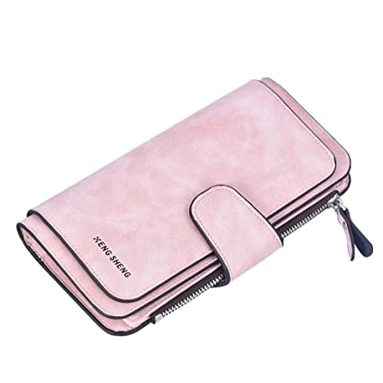 3848bcd01aa8 Women's PU Wallet Iuhan Purse Wallet Solid Dull Polish Hasp Multi Card  Position Wallet Card Bag (Pink)