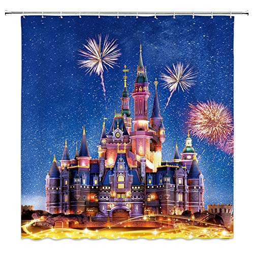 Feierman Fairytale Castle Shower Curtain Decor Colorful Fireworks Kid's Bathroom Curtain Decor Machine Washable Waterproof with Hooks 70x70Inches