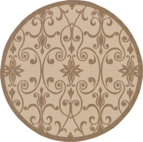 Outdoor Collection Area Rug - Beige 6'-Feet-Round, Perfect for Indoor & Outdoor Rugs - Garden and Pool Area, Camping, Picnic -