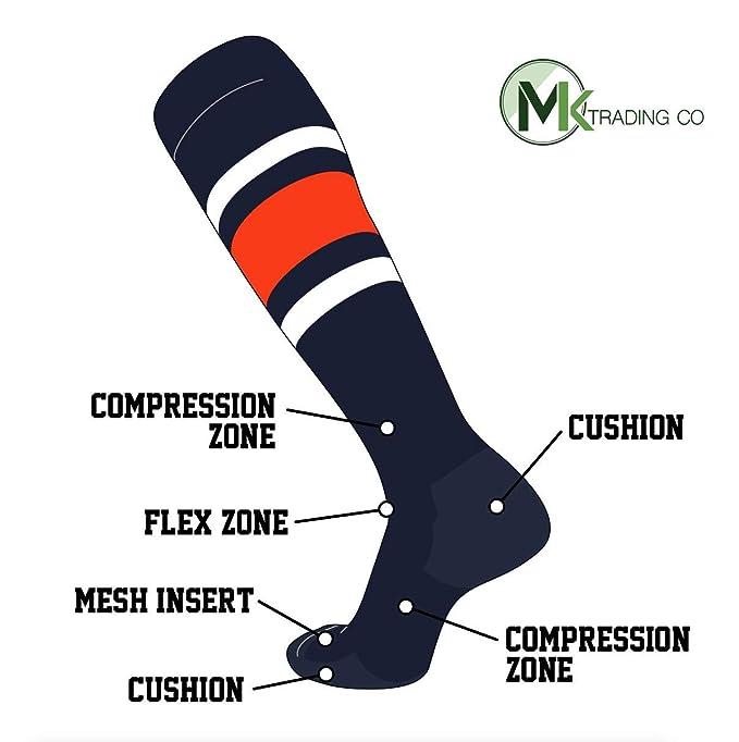 b80ec052a89 Amazon.com  TCK Elite Baseball Football Knee High Striped Socks (E ...