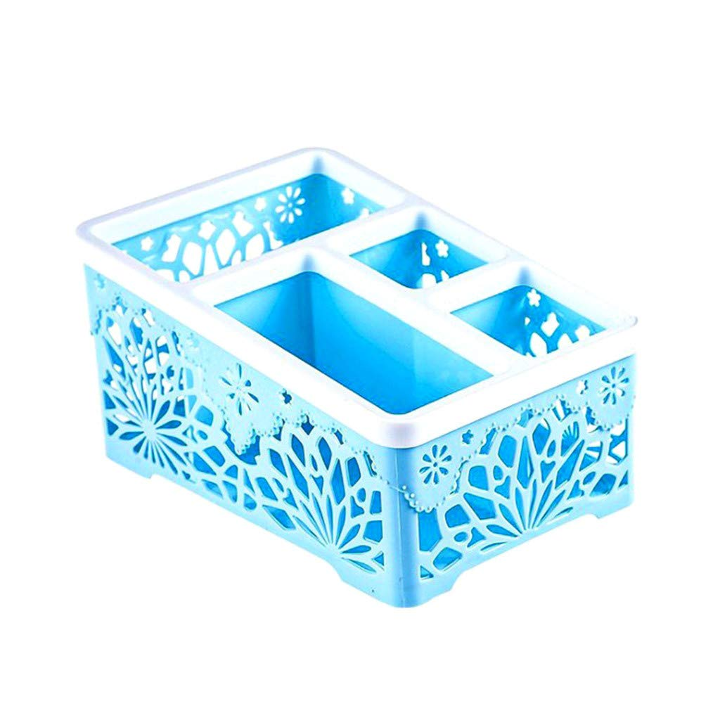 Cosmetic Storage Boxes Desktop Cosmetic Skin Care Storage Tray Brushes Pencil Phone Holder Box for Household Desktop Organizer (Blue)