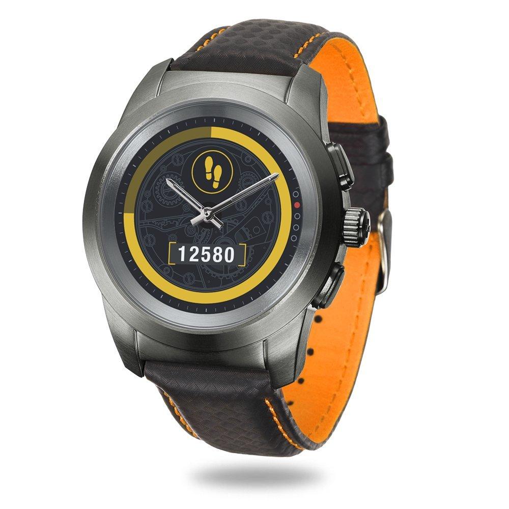 MyKronoz ZeTime Premium Reloj Inteligente híbrido 44mm con Agujas mecánicas sobre una Pantalla a Color táctil – Regular Cepillado Titanio/Costura ...