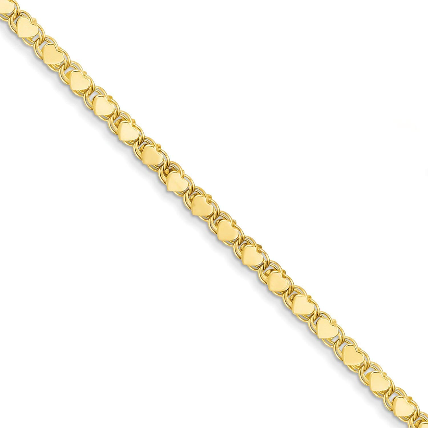 14K Yellow or White Gold 2.9mm Shiny Heart Chain Necklace or Bracelet Bangle or Anklet for Pendants and Charms with Lobster-Claw Clasp (5.5'' 7'', 10'', 16'', or 18 inch)