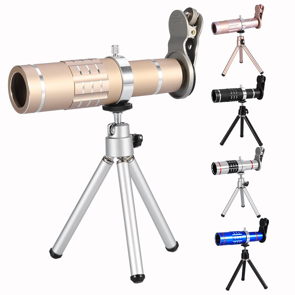 Fosa Cell Phone Camera Lens Kit Universal 18X Optical Zoom Telephoto Telescope Lens with Tripod(Gold) by fosa