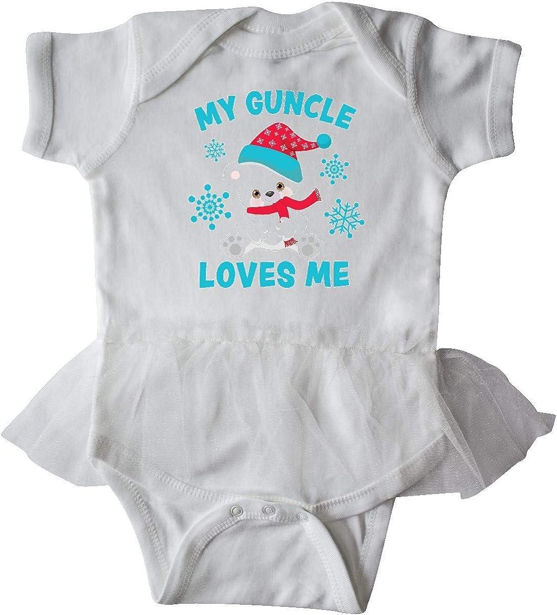 inktastic Polar Bear My Guncle Loves Me in Santa Hat with Infant Tutu Bodysuit