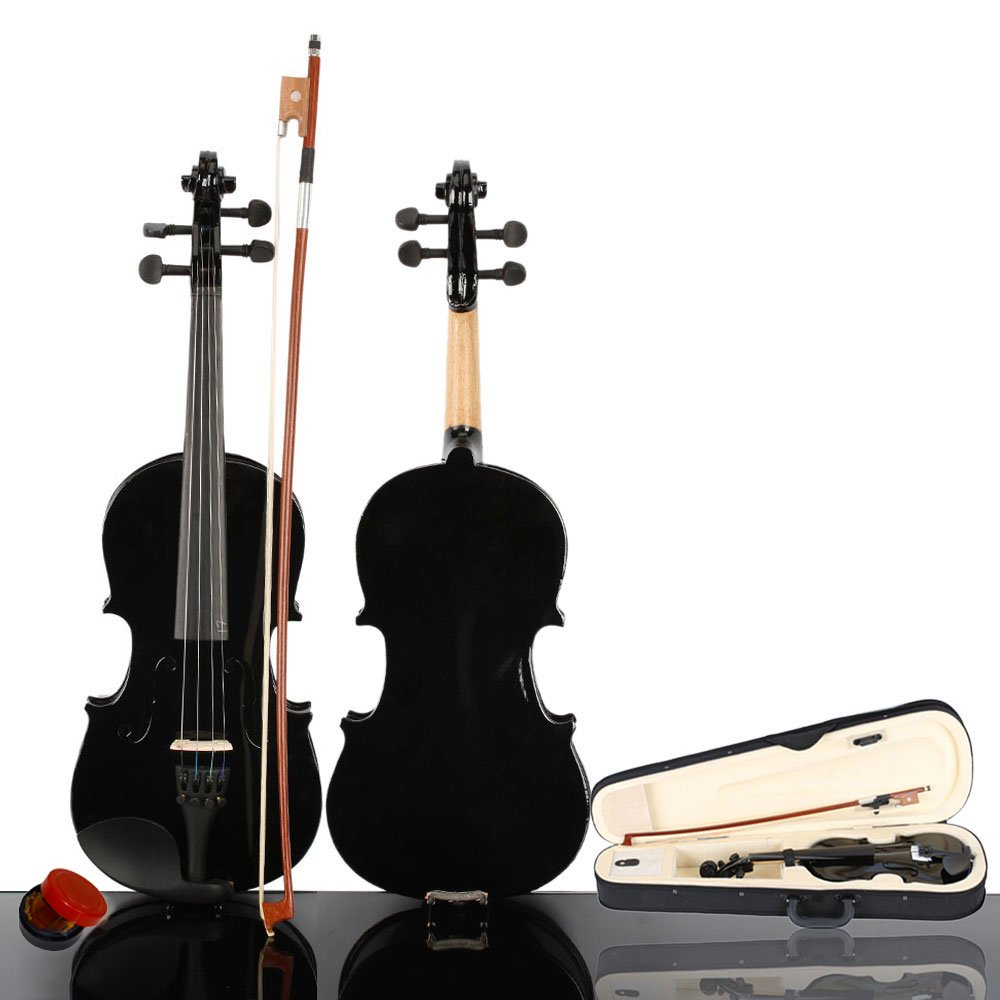 2019 New 1/2 Size Violin Case Acoustic Violin Case Durable Natural Solid Wood Fiddle for Beginners and Students w/Case, Bow and Rosin Black(US stock) by Wrea