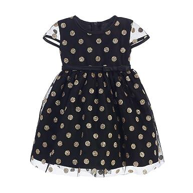 3757f59c6067 Sweet Kids Baby Girls Black Gold Polka Dotted Overlay Occasion Dress 24M:  Amazon.co.uk: Clothing
