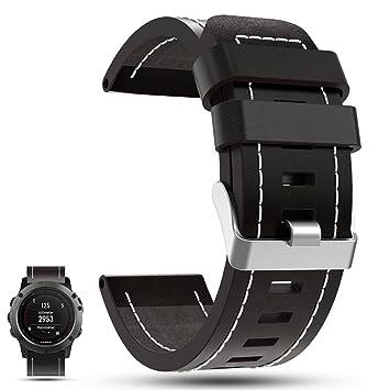 iFeeker correa de reemplazo para reloj inteligente con GPS Garmin Fenix 5X, de piel auténtica, color negro: Amazon.es: Deportes y aire libre