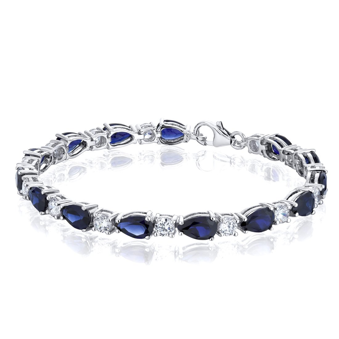 Created Sapphire Bracelet Sterling Silver Rhodium Nickel Finish Tear Drop 13.00 Carats by Peora
