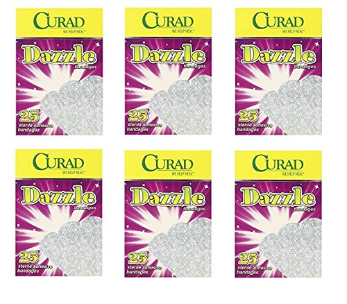 Curad Dazzle Bandages, 25ct (Pack of 6) + FREE Old Spice Deadlock Spiking Glue, Travel Size, .84 Oz by Curad