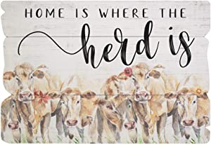 "Simply Said, INC Splendid Fences 14"" x 20"" Distressed Wood Sign - Home is Where The Herd is, FENS1196"