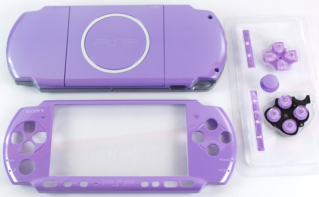 NEW Replacement Sony PSP 3000 Console Full Housing Shell Cover With Button Set -Purple.