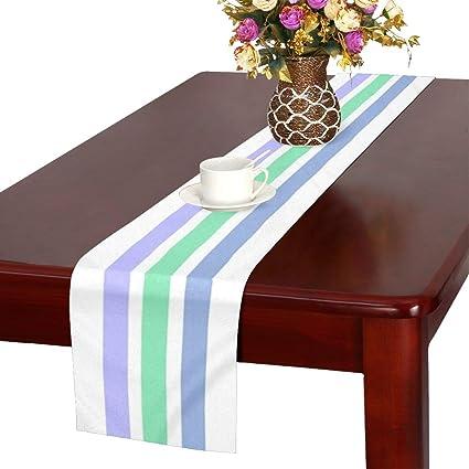 QYUESHANG Horizontal Stripes Striped Pastel Blue Green Table Runner,  Kitchen Dining Table Runner 16 X