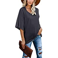 cordat Women's Blouse Tops Loose V Neck 3/4 Bell Sleeve Shirt