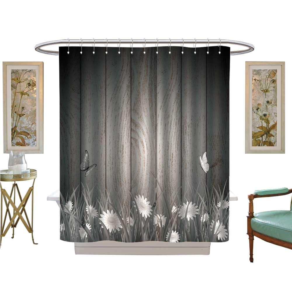 luvoluxhome Shower Curtains Fabric Antique Old Planks American Style Western Rustic Wooden and White Daisies, Grass and Butterflies Bathroom Decor Set with Hooks W72 x L96