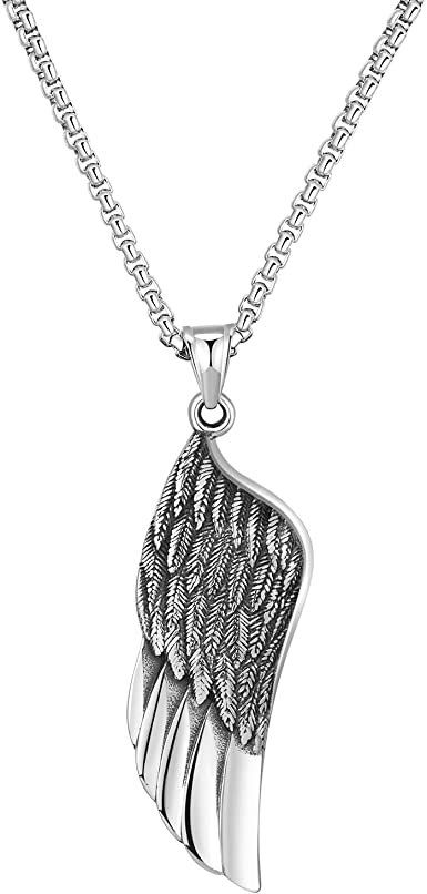 Hip Hop Mens 316L Stainless Vintage Oxidized Punk Style Wing Feather Pendant Gothic Steel Pendant Silver Black Color : Silver Black, Size : Chain