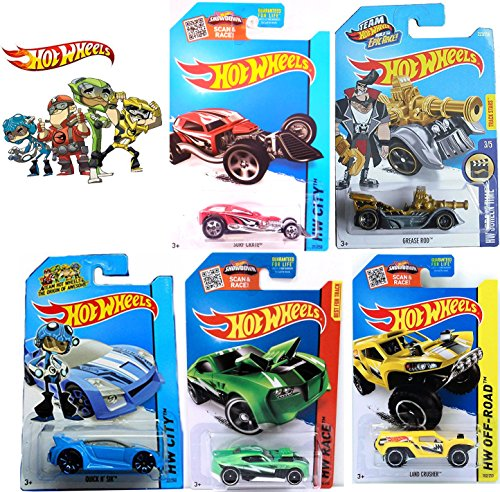 Epic Race Team Hot Wheels 5 Car Set with Grease Rod Treasure Hunt - Surf Crate Red / Quick N Sik Blue / Land Crusher Yellow / Twinduction Green Driver