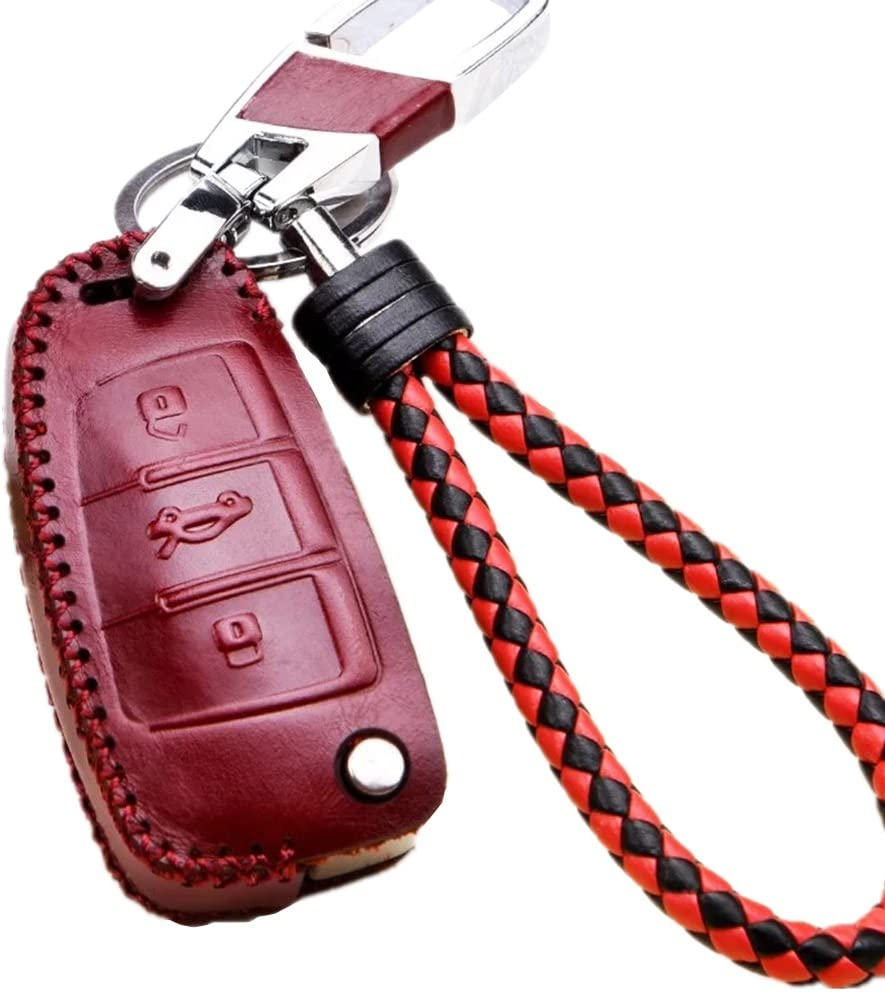 WAFERN Audi Leather Key Fob Case Cover Etui Shell Keyless Remote Flip Key Protection Holder with Braided Key Chain /& Key Rings for 3 Button Audi A3 A4 A6 A8 TT Q7 S6 Auto Accessories Gift in Pink