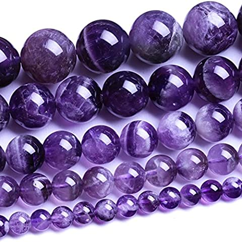 Natural Round Amethyst Agate Loose Stone Beads Bulk For Jewelry Making 4MM, 6MM, 8MM, 10MM ,12MM (Amethyst Stone Jewelry)