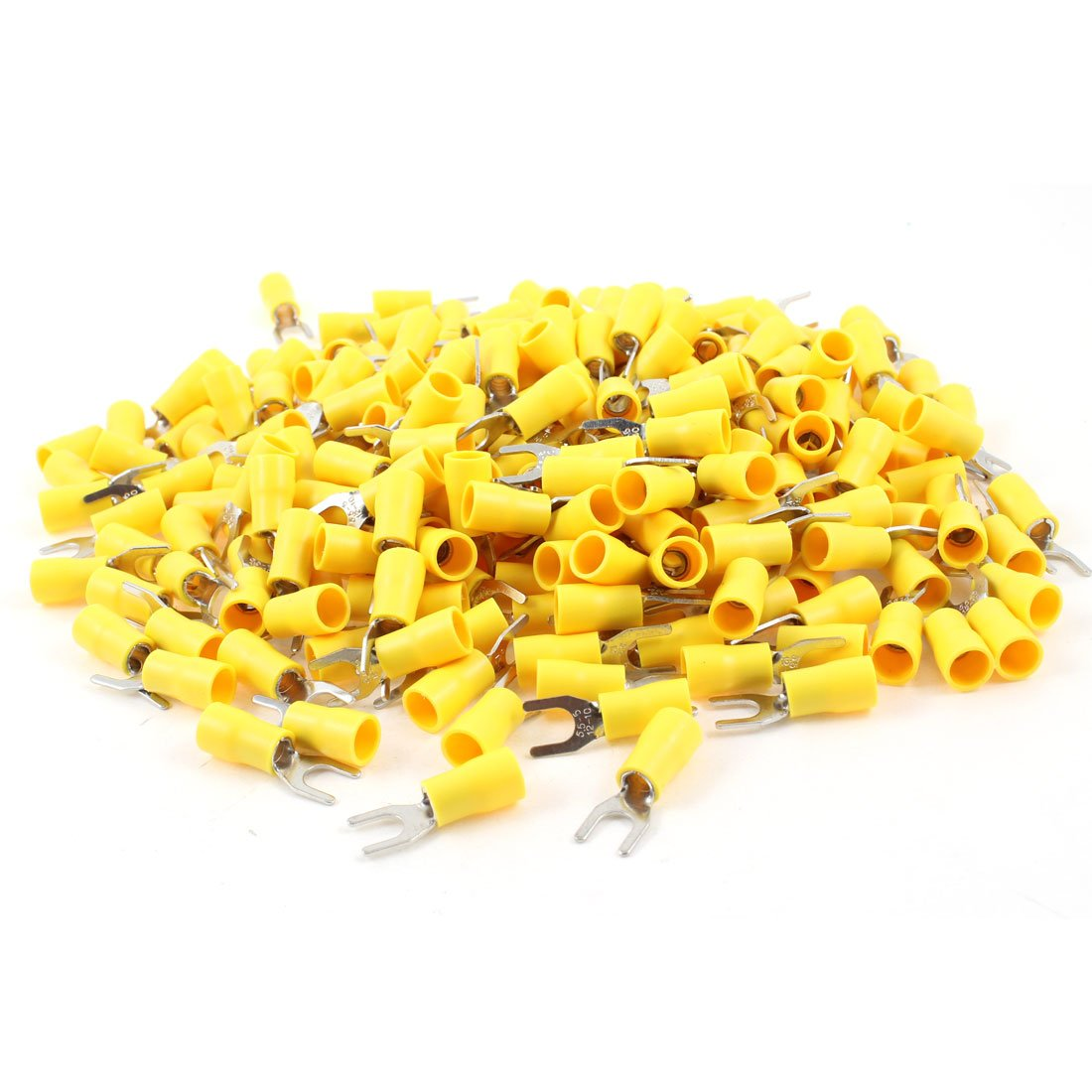 Uxcell SV5.5-5 Pre Insulated Fork Terminal for AWG 12-10 Wire and #10 Stud, 500 Piece, Yellow