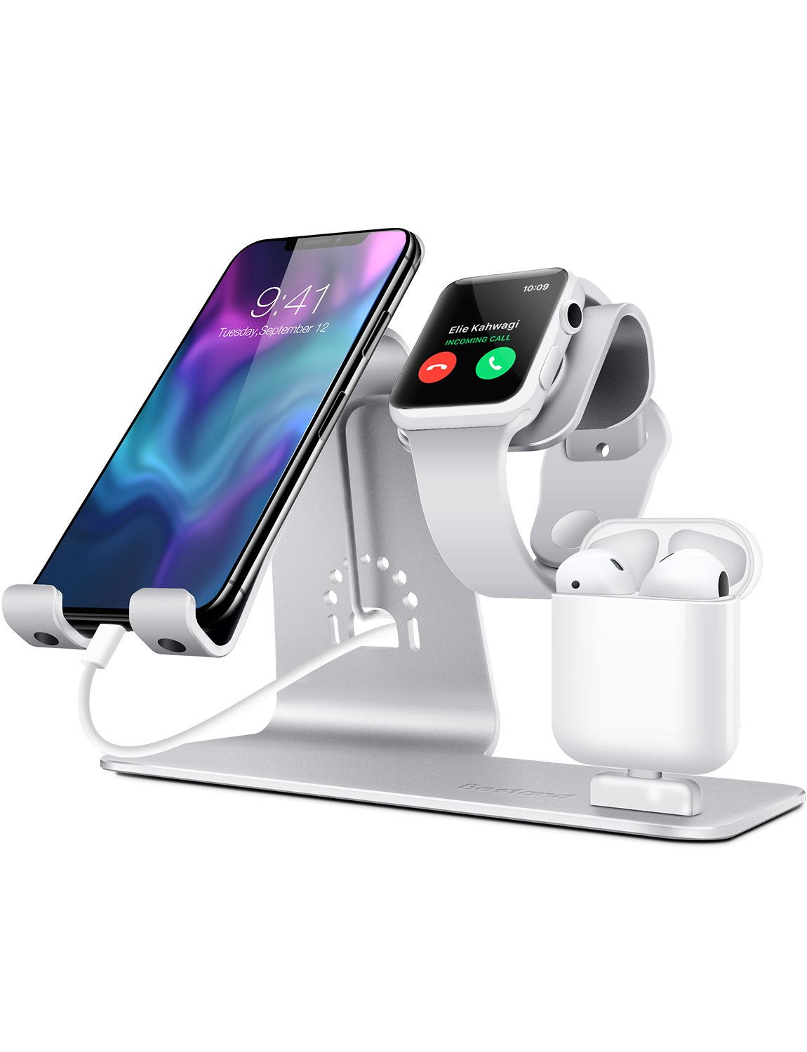 Bestand3 in 1 Apple iWatch Stand, Airpods Charger Dock, Phone Desktop Tablet Holder for Airpods, Apple Watch/ iPhone X/8 Plus/8/ 7 Plus/ iPad, Silver(Patenting, Airpods Charging Case NOT Included) by Bestand