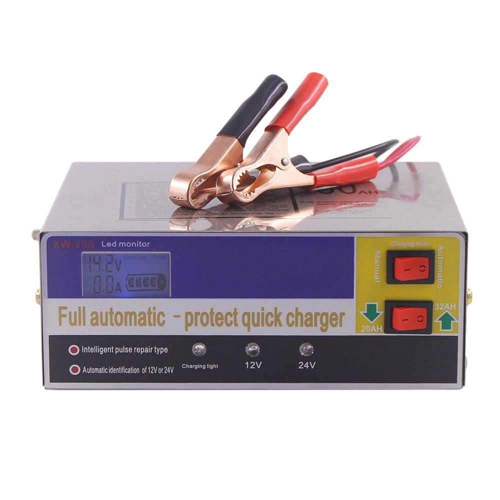 KKmoon 12V/24V Chargeur de Batterie Intelligent Automatique LED Chargeur Mainteneur pour Voitures, Motos, ATV, RVS, Powersports, Bateau et Batterie au Plomb/Lithium Batterie 140W AC220V