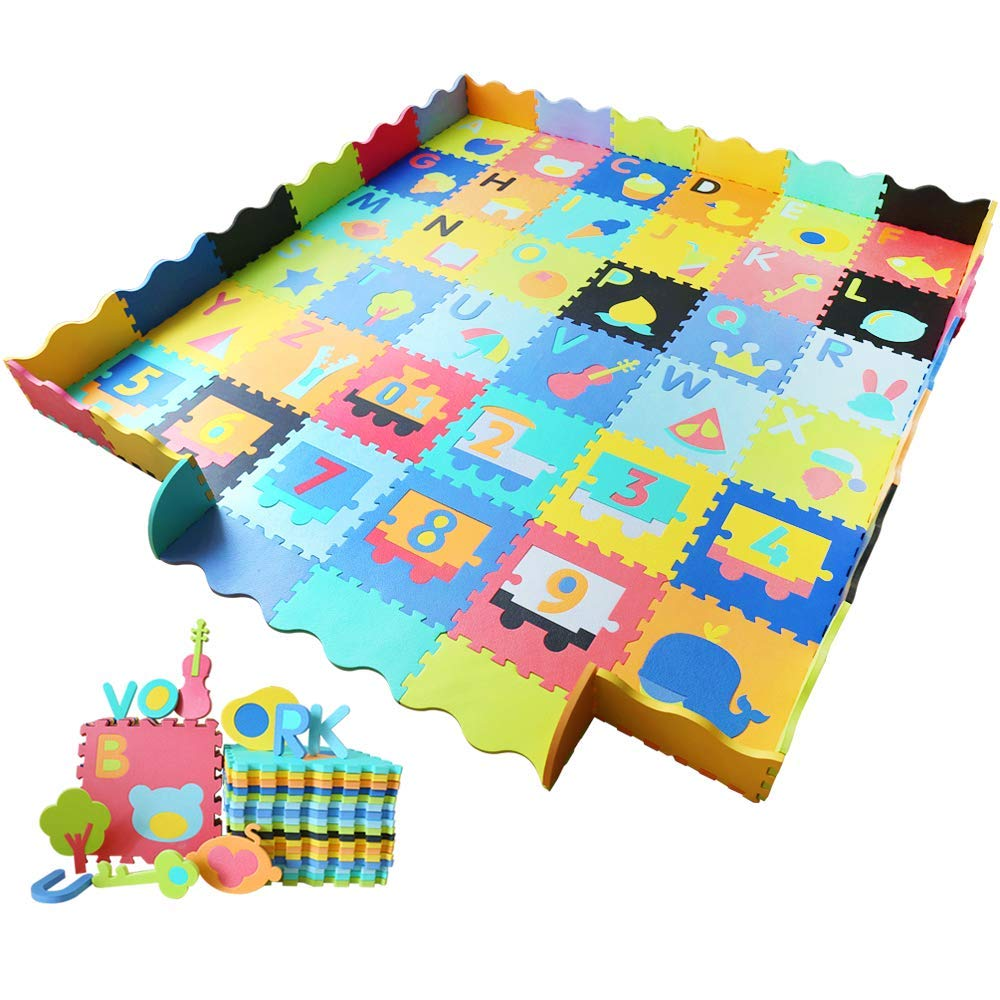 Baby Foam Play Mat with Fence - Interlocking Alphabet Crawling Mat with 36 Foam Floor Tiles Ashtonbee