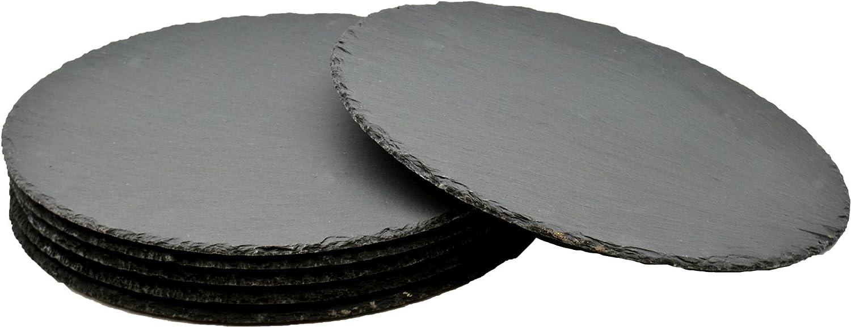 Argon Tableware Round Natural Slate Serving Plates/Platters - Set Of 6