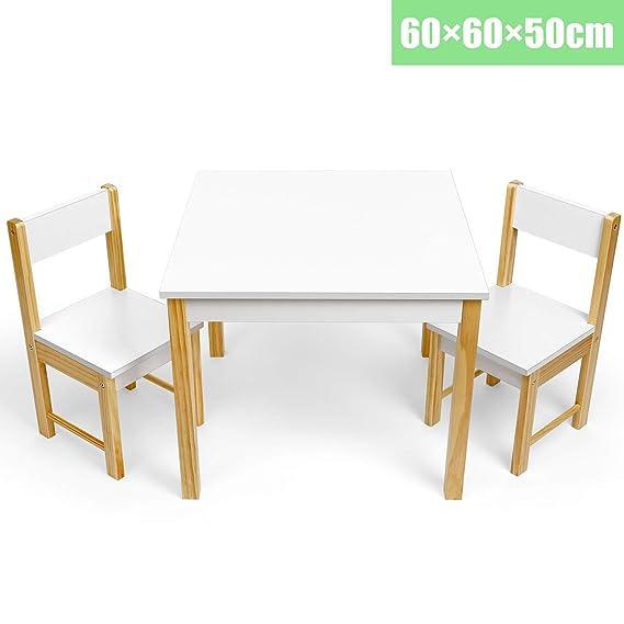Amzdeal Ensemble de Table et 2 Chaises pour Enfants - 60*60*50cm - meuble en Bois et MDF Écologique pour Garçons et Filles, Hauteur Optimale, Durable, Multiusage et Facile à Installer - Couleur Blanc