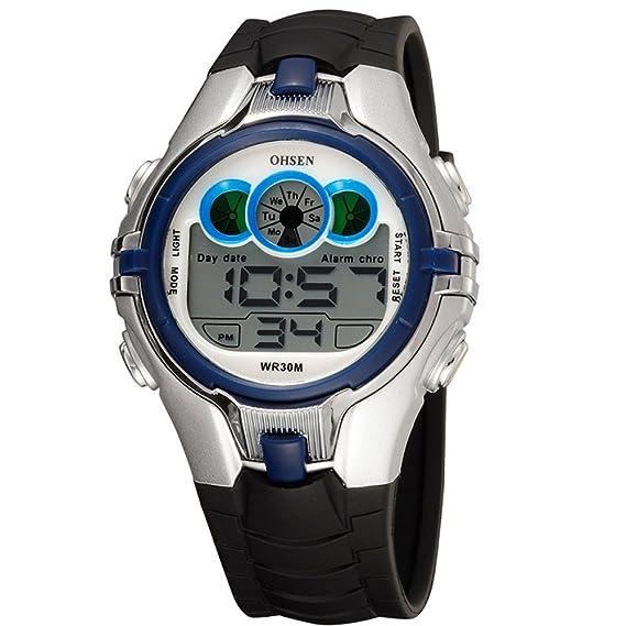 Reloj digital para niños con alarma de fecha, cronógrafo, 7 colores, luz LED de fondo 3 ATM, resistente al agua: Amazon.es: Relojes