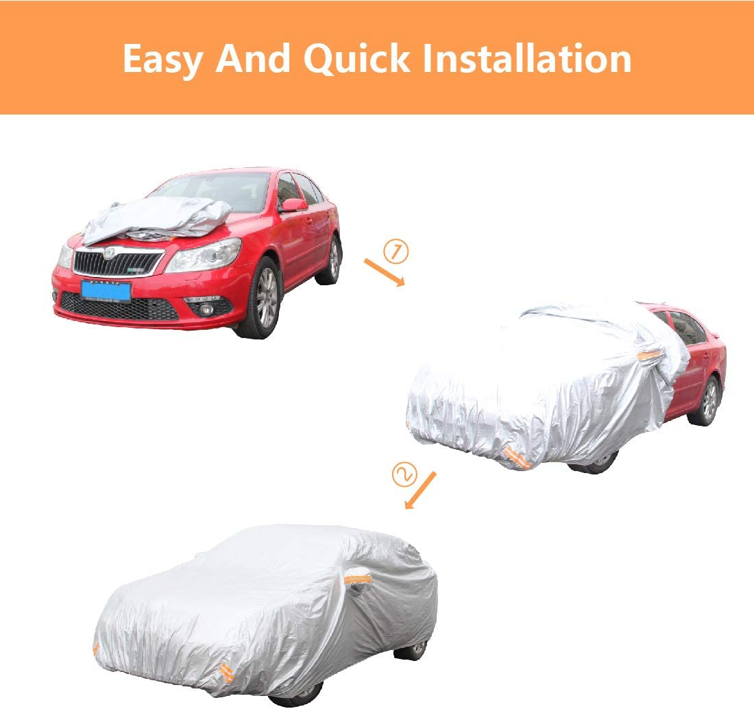 Copap 4 Layers Non-Woven Fabric Car Covers Universal Full Cover Waterproof Paint Safe Water Resistant UV /& Dust Proof Designed for Most Protection XL Size up to 185