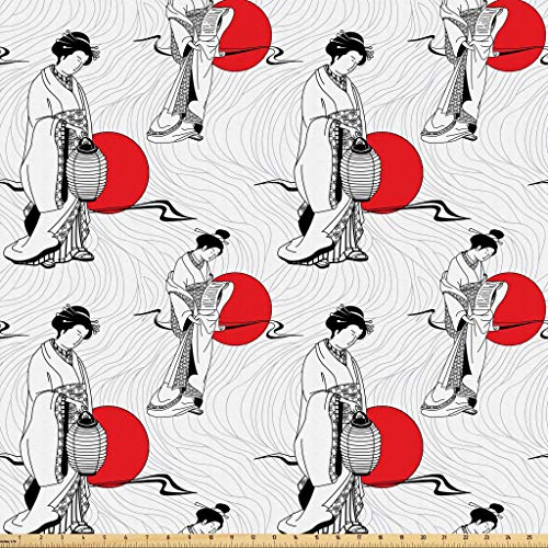 Lunarable Japan Fabric by The Yard, Cultural Pattern with Geisha Woman in Kimono Costume on Abstract Wavy Backdrop, Microfiber Fabric for Arts and Crafts Textiles & Decor, 3 Yards, Orange White